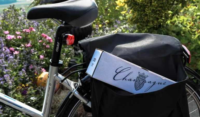 Bottle of Champagne on the bike